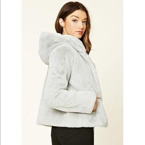 NWOT Forever 21 Faux Fur Coat w/ Hood